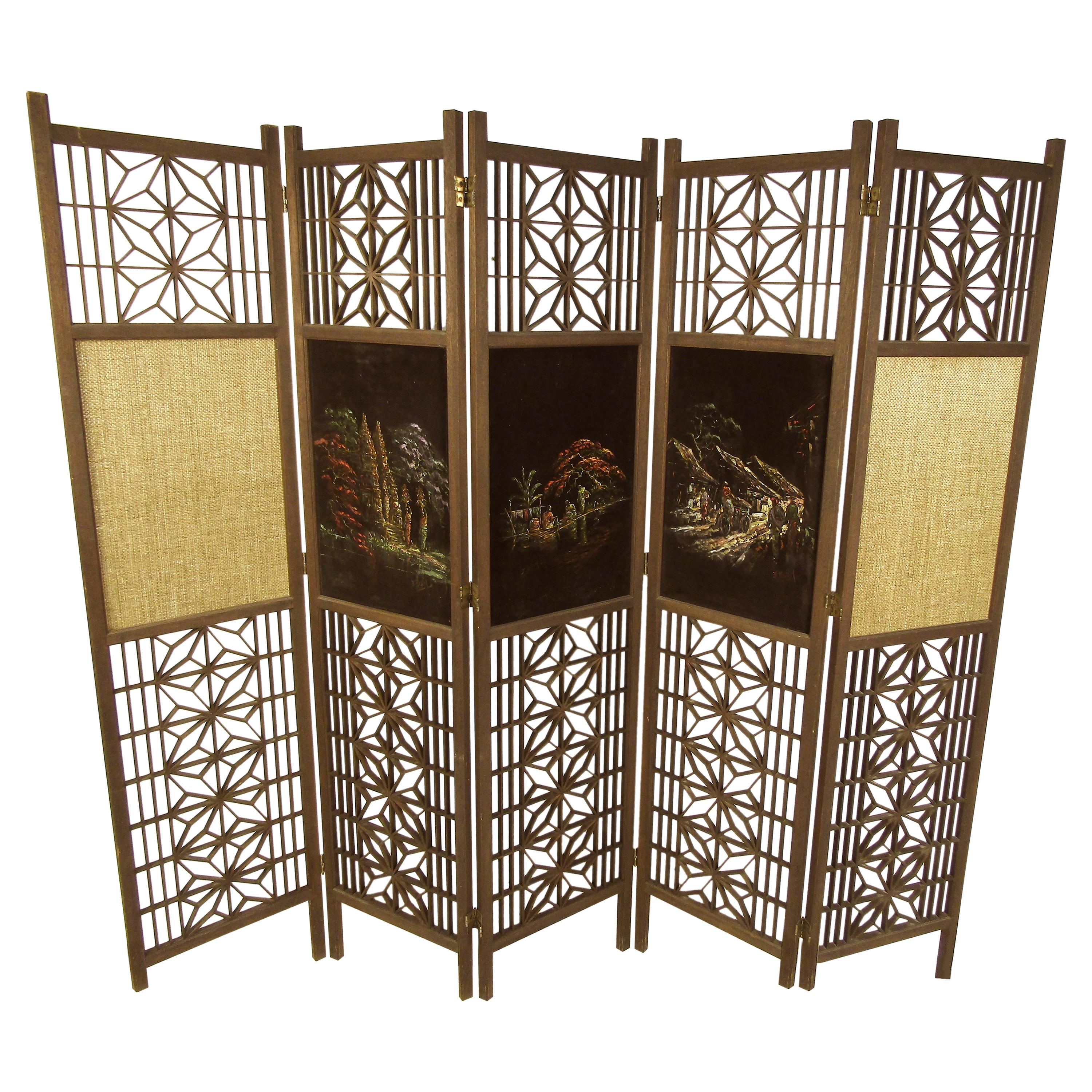 Wooden Hand Painted Room Divider