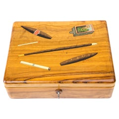 Wooden Hand Painted Tobacco Box, circa 1910