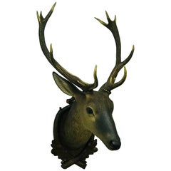 Wooden Head of Deer, Lifesize, 10 Points