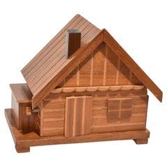 Wooden House Cigarette Holder Music Box