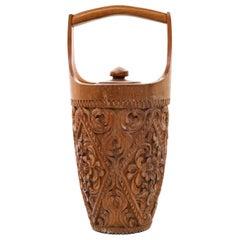 Wooden Ice Bucket, Oriental Manufacture, Mid-20th Century