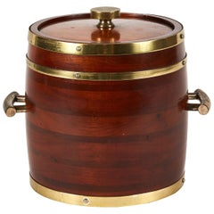 Wooden Ice Bucket with Brass Fittings from England, circa 1920