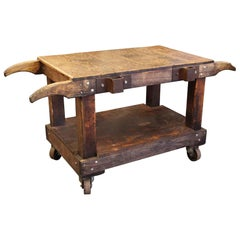 Wooden Industrial Cart Turned Kitchen Island or Table or Counter