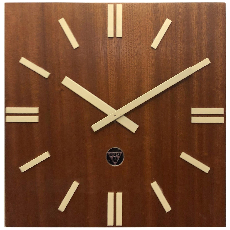 Wooden Industrial Factory Wall Clock by Pragotron