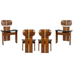 Wooden & Leather Africa Chairs from Artona Serie by A. e T. Scarpa for Maxalto