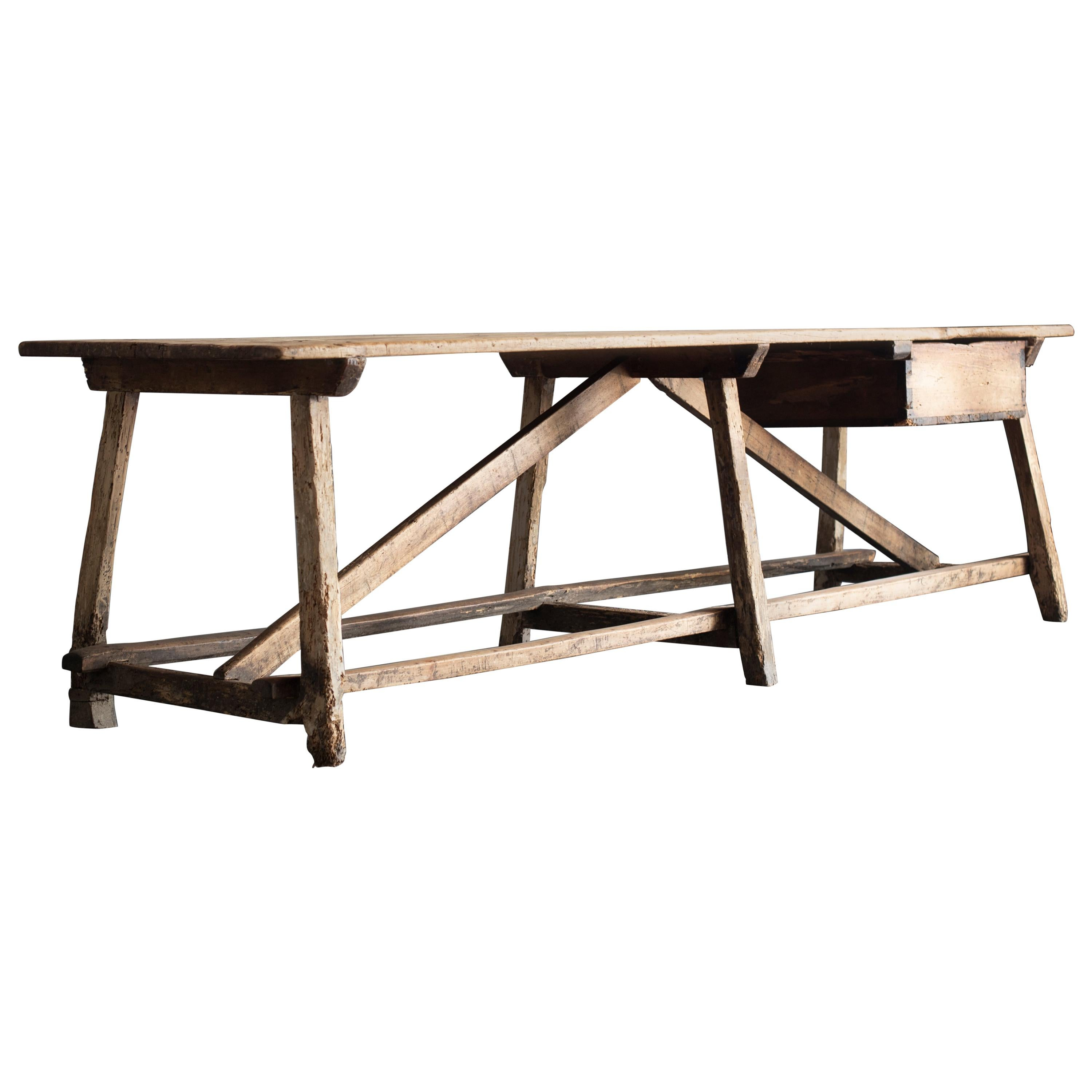 Merveilleux Wooden Long Work Table From Spain, 1850s For Sale