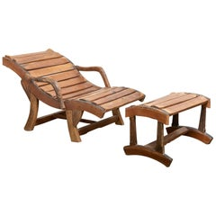 Wooden Lounge Chair with Foot Support
