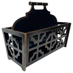 Magazine Holder with Fret Work Panels in Black with Gilt Edging