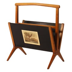 Wooden Magazine Rack with Italian Scenes, c. 1950