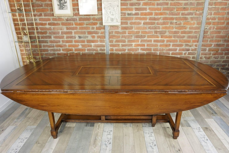 Wooden Marquetry Modular Dining Table For Sale 4