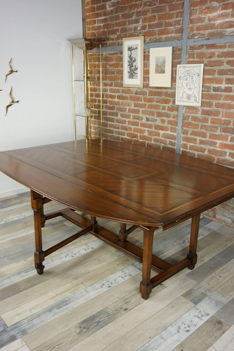 Wooden Marquetry Modular Dining Table For Sale 8