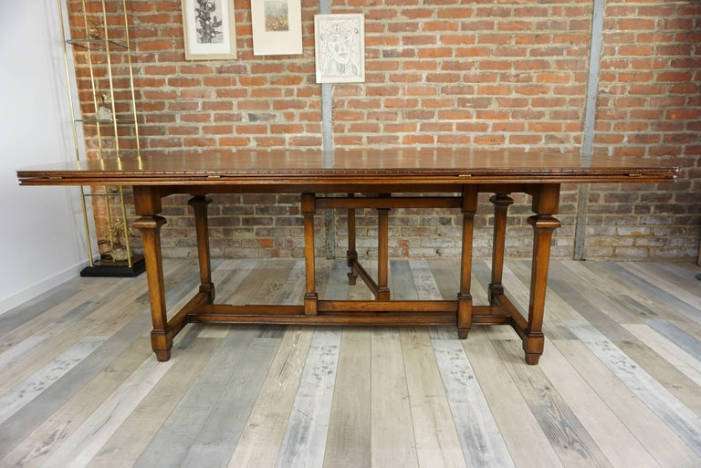 Wooden Marquetry Modular Dining Table For Sale 10