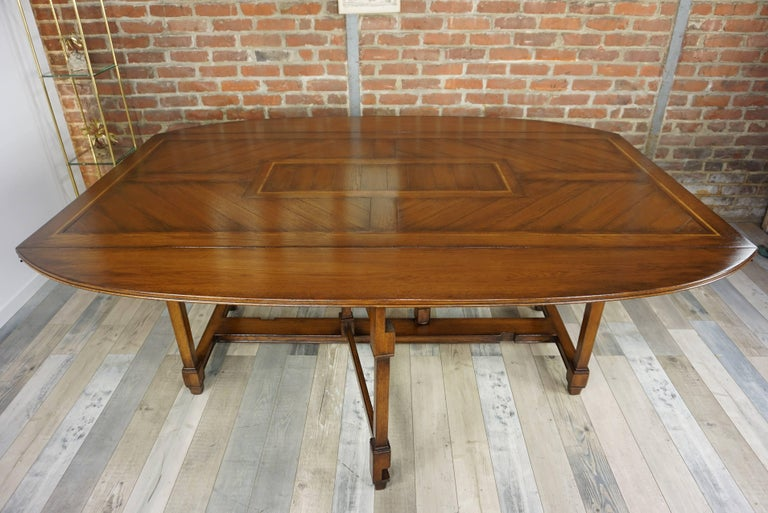 Wooden Marquetry Modular Dining Table For Sale 11