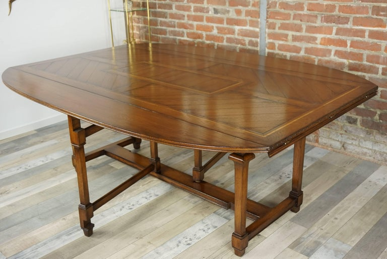 Wooden Marquetry Modular Dining Table For Sale 12