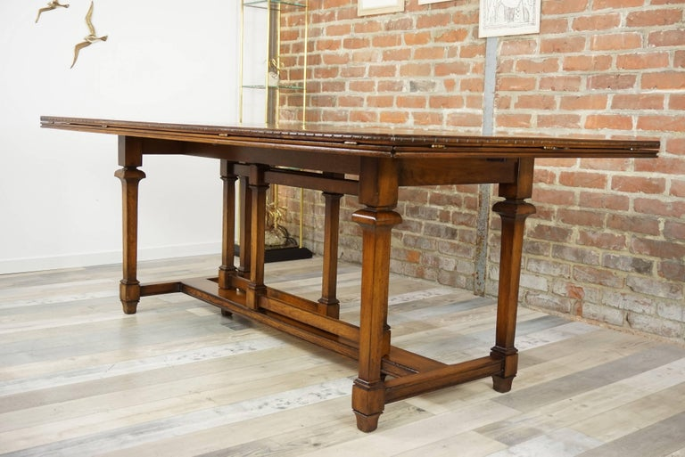 Neoclassical Revival Wooden Marquetry Modular Dining Table For Sale