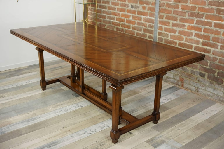 Wooden Marquetry Modular Dining Table In Excellent Condition For Sale In Halluin, FR