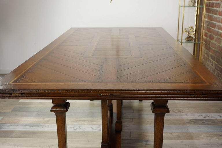 20th Century Wooden Marquetry Modular Dining Table For Sale