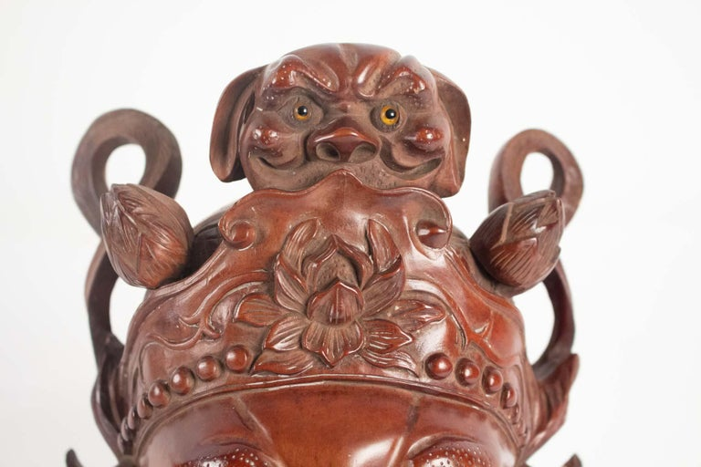 Chinoiserie Wooden Mask of a Chinese Traditional Opera Personage, Sulfur Eyes, 1900 For Sale