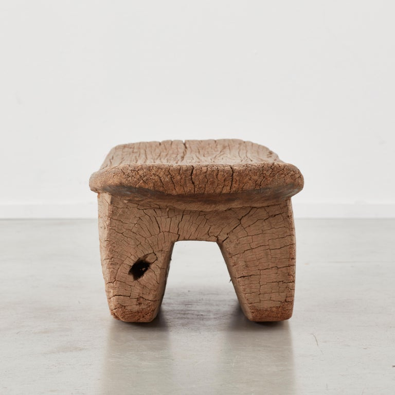 Wooden Meditation Stool from Burkino Fasso, circa 1950 In Good Condition In London, GB