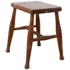Wooden Midcentury Stool or Side Table