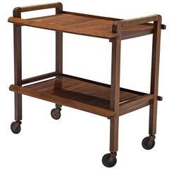 Wooden Midcentury Trolley with Wheels