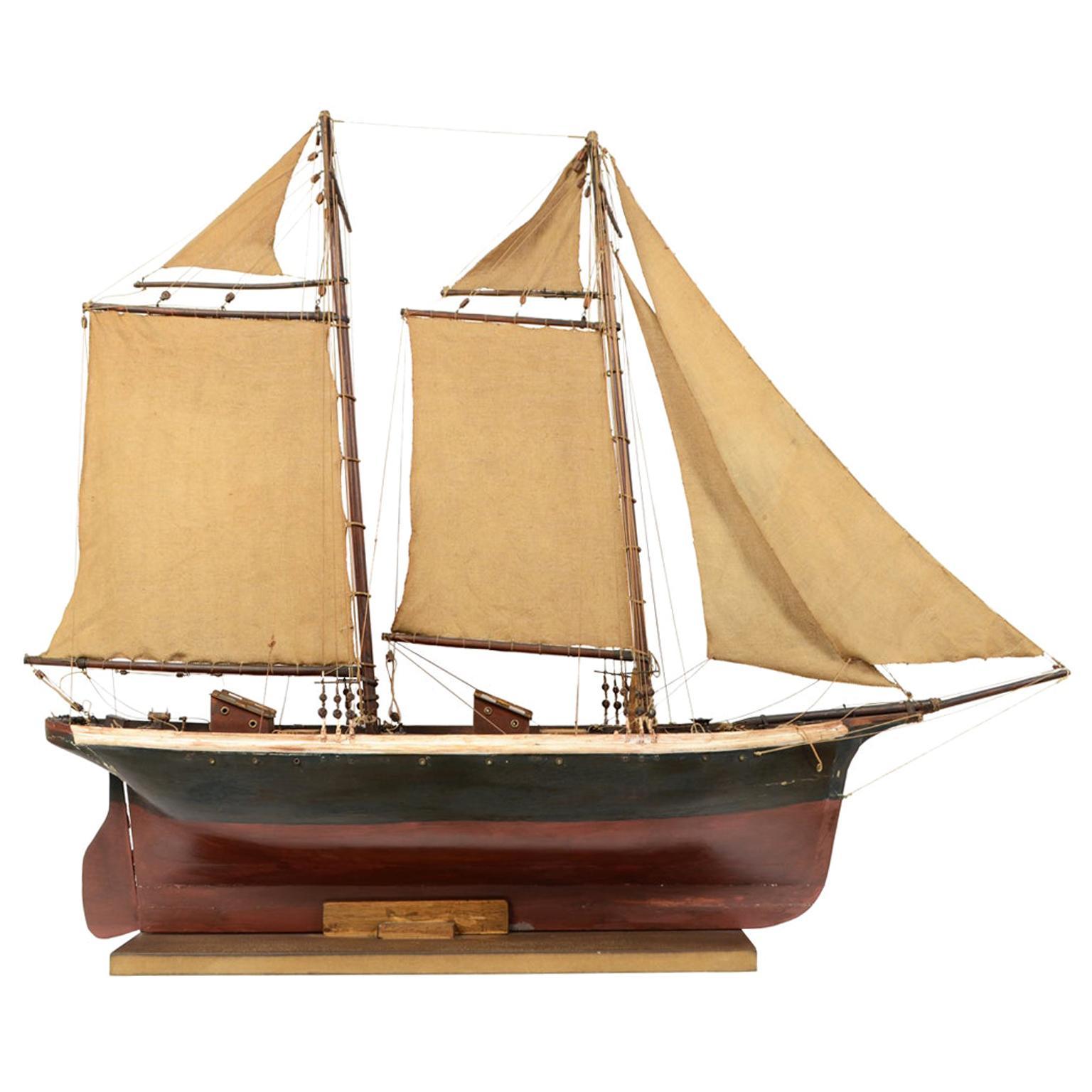 Wooden Model of a Schooner, Early 1900s