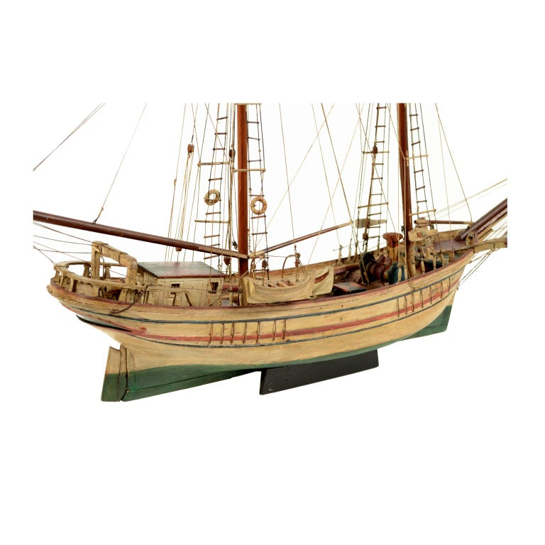 Scale model of a ship probably made in Ile De Rouad, Syria, in 1915 circa. Good condition. Length cm 112 - inches 44, deptch cm 20 - inches 7.87, height cm 84 - inches 33. It is a kind of ship used as fishing boat or to transport; it is a wooden