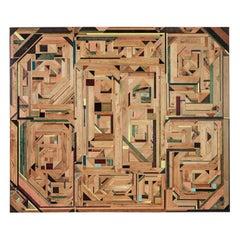 Wooden Mosaic Wall Piece, Intarsia, Art by Tessa Koot