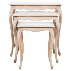 Wooden Nesting Tables with Milk Glass Top, Set of Three