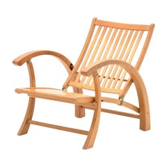 Wooden Outdoor Easy Chair with Adjustable Back Rest, Foldable Swiss Design 1950s