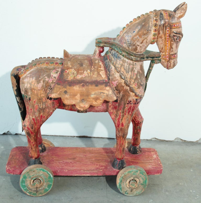 Wooden Oversized Temple Horses from India For Sale 5