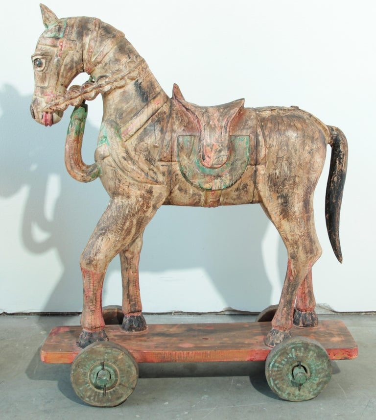 Wooden Oversized Temple Horses from India For Sale 9
