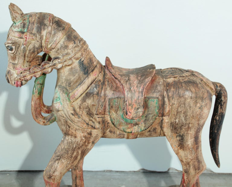 Wooden Oversized Temple Horses from India For Sale 10