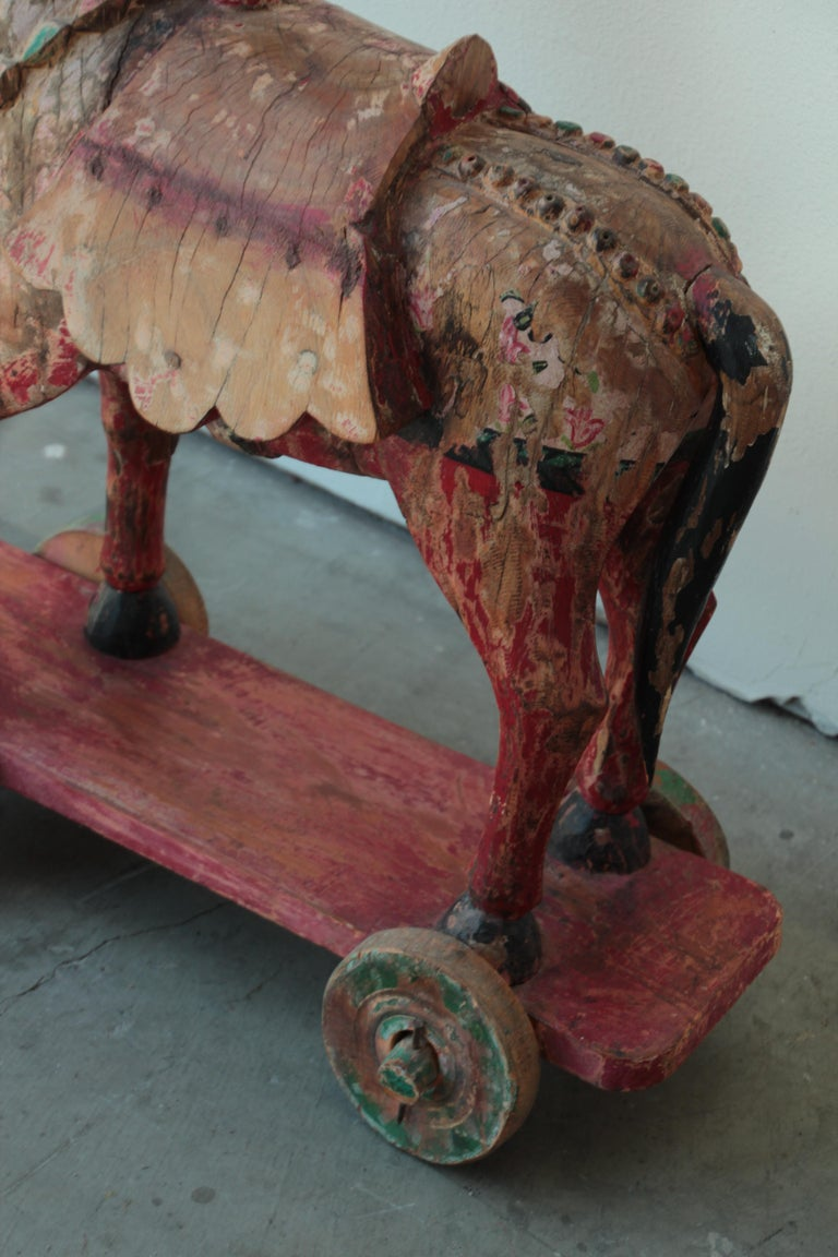 Wooden Oversized Temple Horses from India For Sale 13