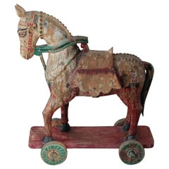 Wooden Oversized Temple Toy Horse from India