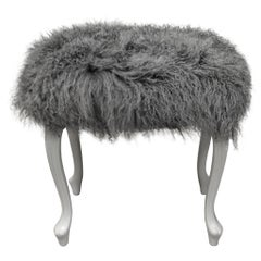 Wooden Painted Bench Upholstered with a Grey Curly Lamb's Wool