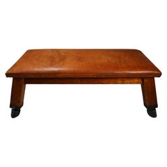 Wooden Patinated Leather Gym Bench or Table, circa 1950s