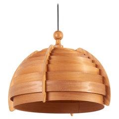 Wooden Pendant Lamp by Hans-Agne Jakobsson for AB Ellysett Markaryd, Sweden