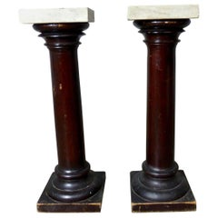 Wooden Pillars / Stands / Pedestals with Marble Tops, circa 1900