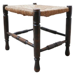 Wooden Rush Midcentury English Stool