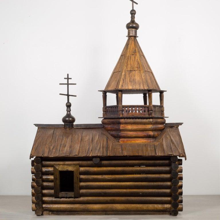 Rustic Wooden Russian Orthodox Church Log Cabin Model, circa 1900-1930