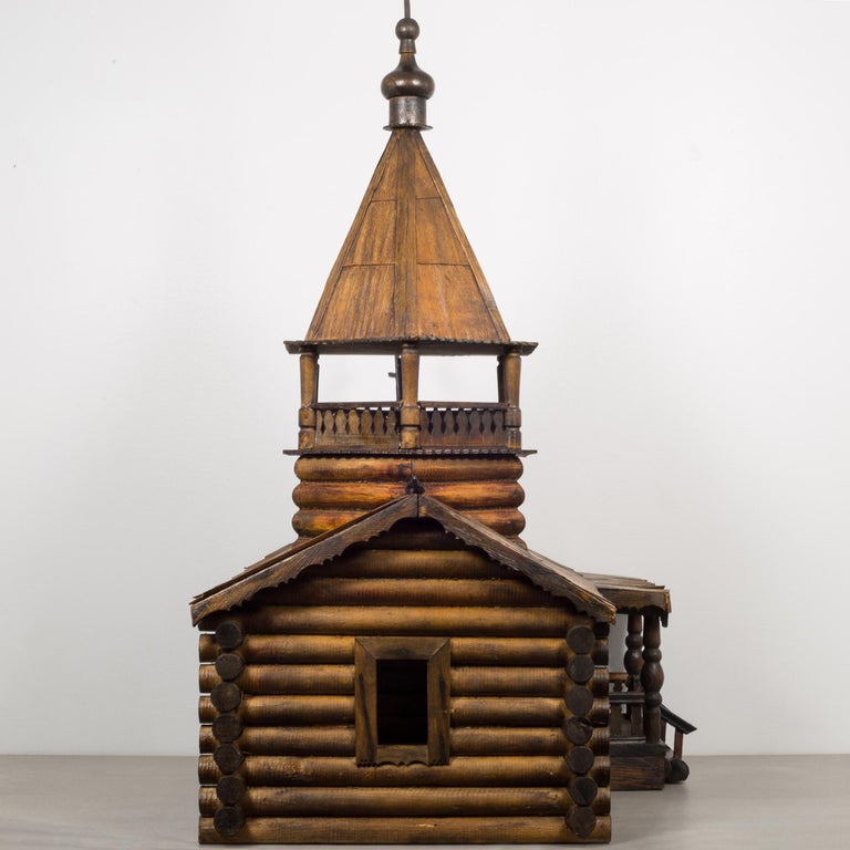 American Wooden Russian Orthodox Church Log Cabin Model, circa 1900-1930