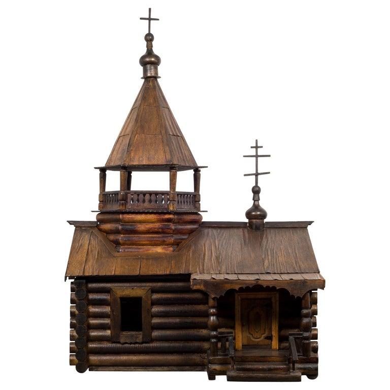 Wooden Russian Orthodox Church Log Cabin Model, circa 1900-1930