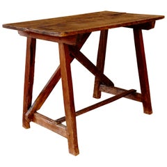 Wooden Rustic Catalan Patinated Dining Table, circa 1930