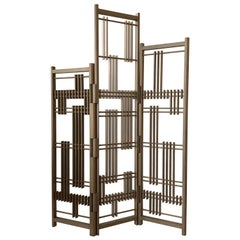 Wooden Screen 3 Panels Interlock André Fu Living Partition Dividers Bronze New