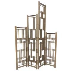 Wooden Screen 4 Panels Interlock André Fu Living Partion Dividers Oak Bronze New