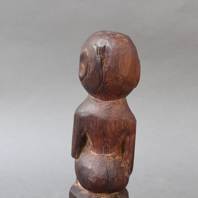 Wooden Sculpture or Carving of Sitting Figure from Sumba Island, Indonesia For Sale 5