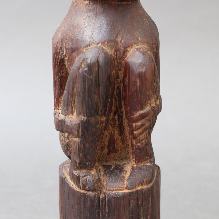 Wooden Sculpture or Carving of Sitting Figure from Sumba Island, Indonesia For Sale 12
