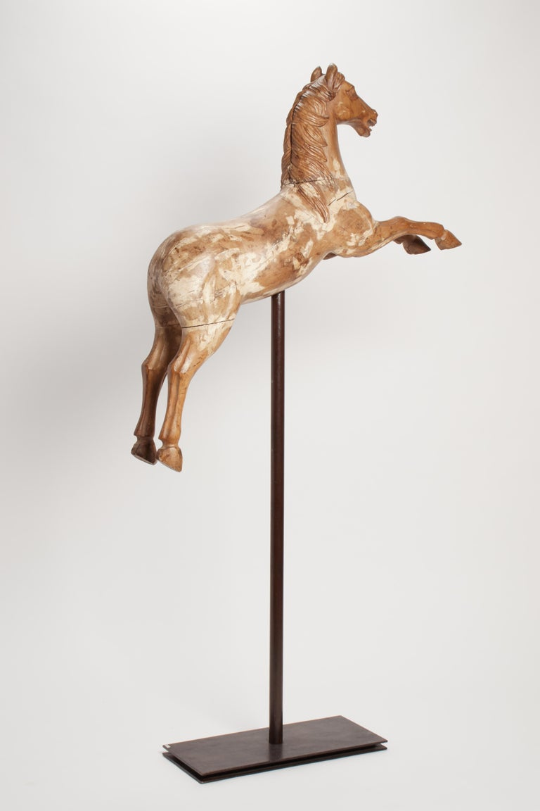 Italian Wooden Sculpture of a Rampant Carrousel Horse, Italy, 1750 For Sale