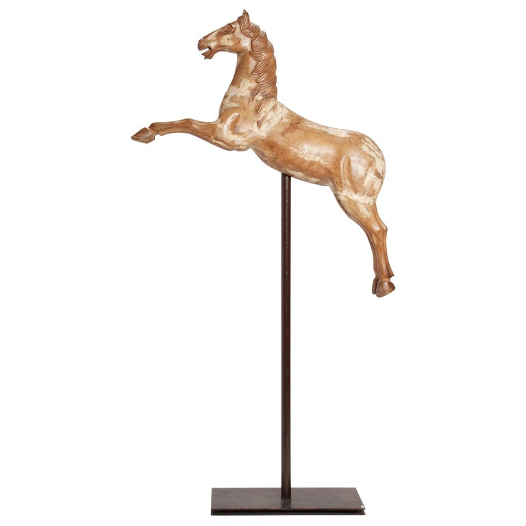 Wooden Sculpture of a Rampant Carrousel Horse, Italy, 1750 For Sale